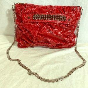 ELISABETH WEINSTOCK Red Snakeskin Studded Clutch
